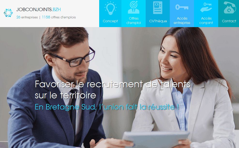 www.jobconjoints.bzh le site d'aide à l'embauche pour le conjoint en Bretagne Sud !