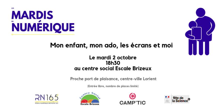 Mon enfant, mon ado, les écrans et moi… Mardi 2 octobre 18h30, centre social Escale Brizeux à Lorient