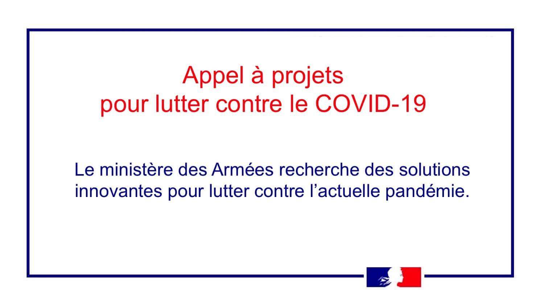 Ministère des armées   Appel à projets de solutions innovantes pour lutter contre le COVID-19