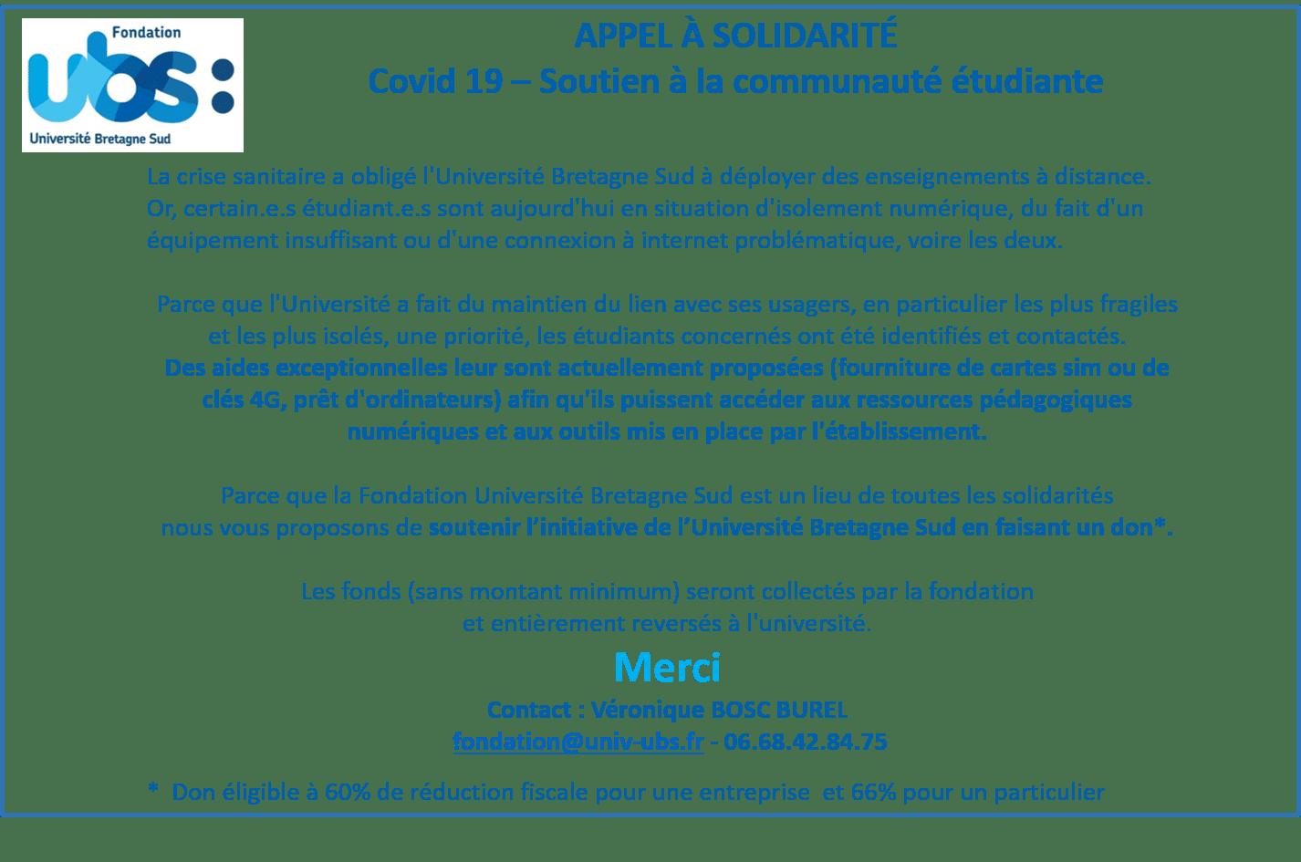 COVID-19   Appel à la solidarité Université Bretagne Sud – Soutien à la communauté étudiante