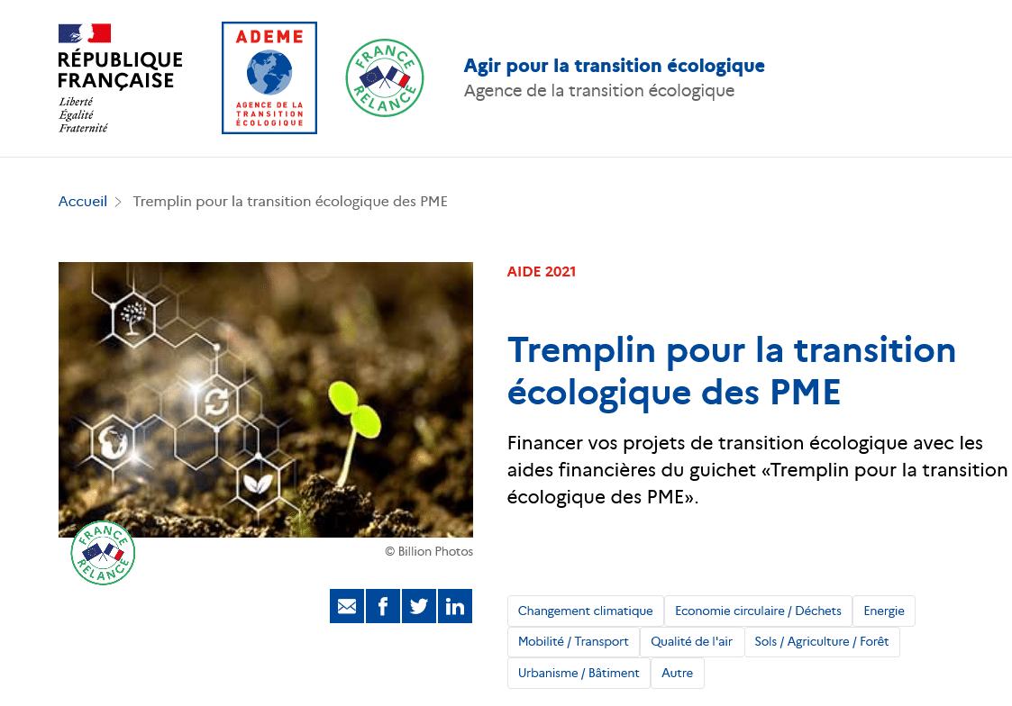 Aide ADEME | Tremplin pour la transition écologique des PME